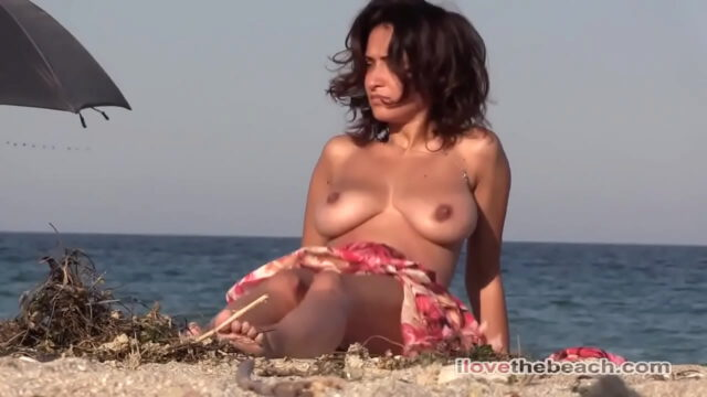Blonde and brunette with big tits totally naked on the beach